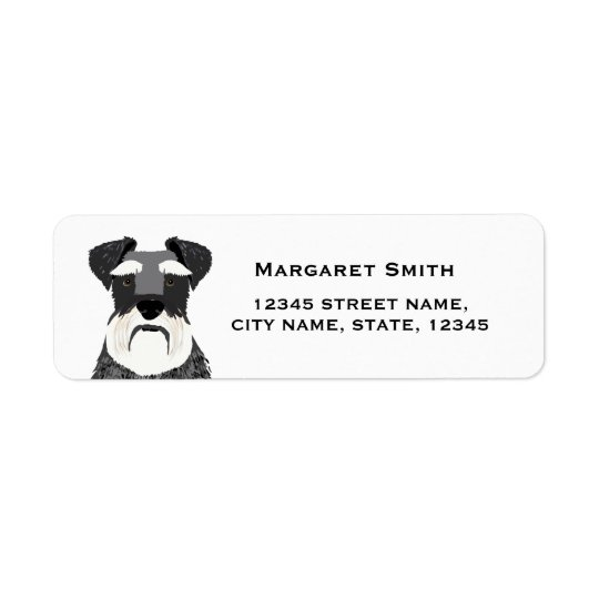 etiqueta del remite del perro del schnauzer
