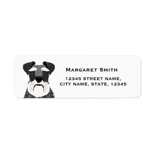 etiqueta del remite del perro del schnauzer etiqueta de remitente