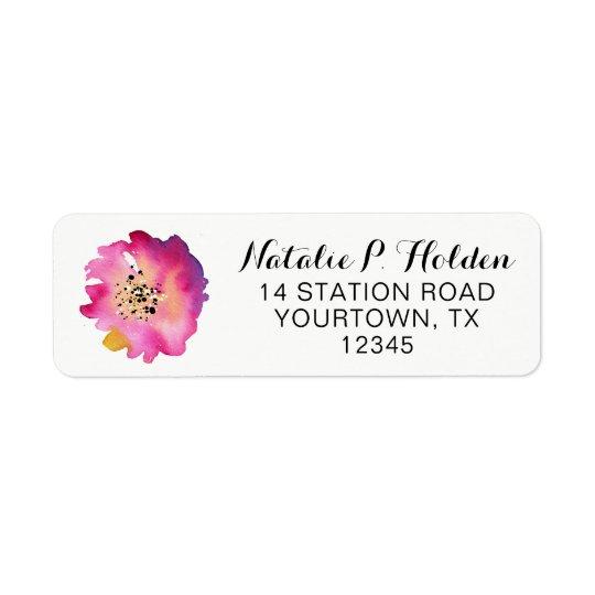 Etiqueta del remite - flor rosada de la acuarela