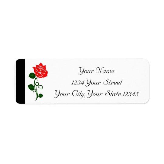 Etiqueta del rosa rojo