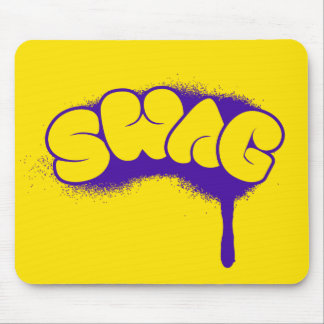 Etiqueta del Swag (púrpura/amarillo) Alfombrilla De Ratón