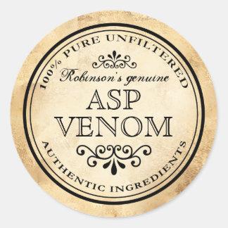 Pegatina Redonda Etiqueta del veneno del boticario ASP del vintage