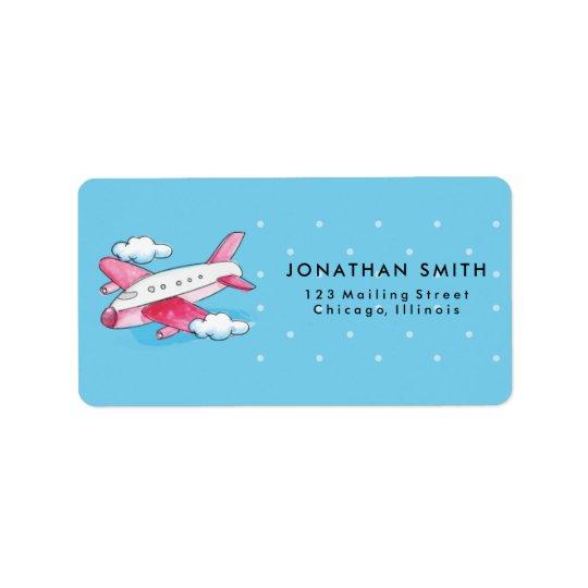 Etiqueta del viaje del aeroplano de la acuarela etiquetas de dirección