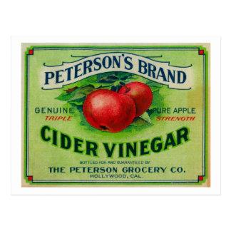 Etiqueta del vinagre de la sidra de Peterson Tarjetas Postales