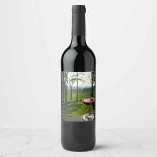 Etiqueta del vino de la copa de vino y del diseño