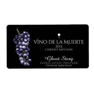 etiqueta del vino de vino de la muerte etiqueta de envío