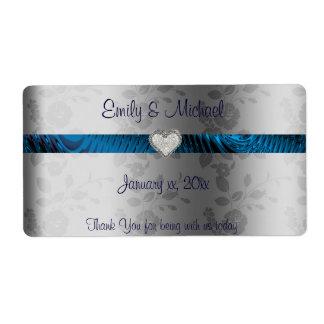 Etiqueta del vino/del agua del boda, azul y plata,