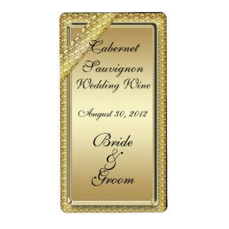 Etiqueta del vino del boda de la barra de oro etiquetas de envío