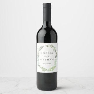 Etiqueta del vino del boda de la guirnalda de la