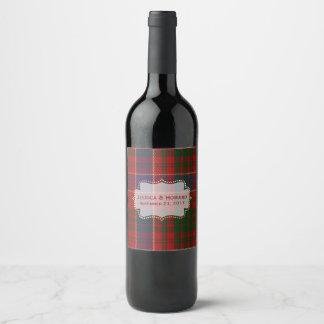 Etiqueta del vino del boda de la tela escocesa de