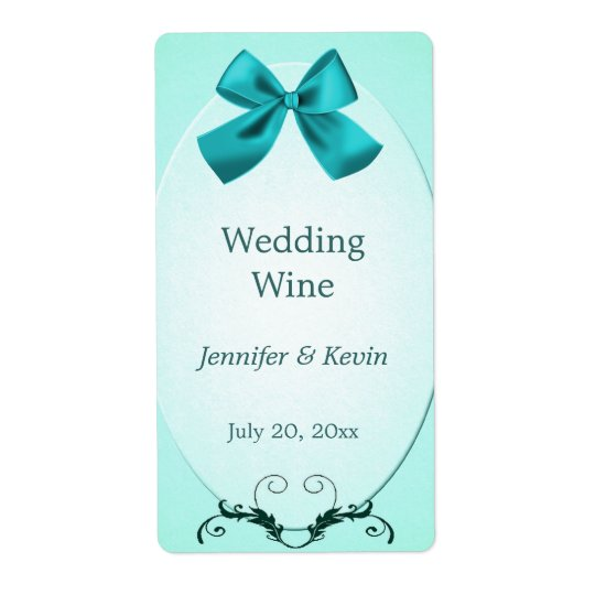 Etiqueta del vino del boda del Aquamarine Etiquetas De Envío