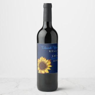 Etiqueta del vino del boda del girasol
