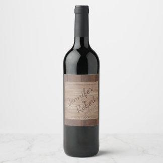 Etiqueta del vino del boda del país de madera y