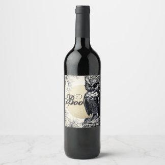 Etiqueta del vino del búho de Halloween de la casa