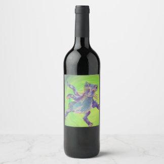 etiqueta del vino del gato azul que vuela