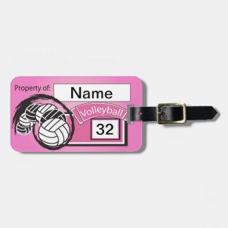 Etiqueta del voleibol en rosa