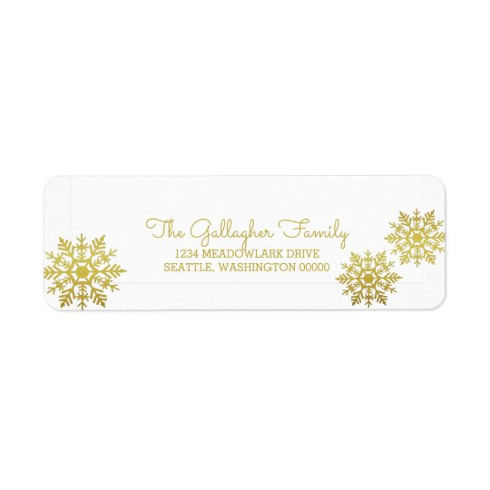 Etiqueta Día de fiesta elegante brillante del copo de nieve