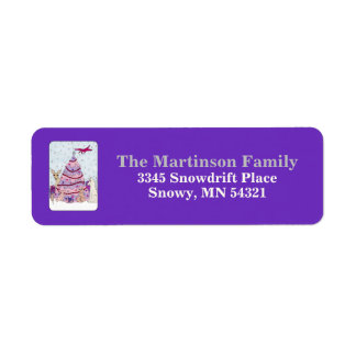Etiqueta Día de fiesta púrpura rosado lindo del árbol y de