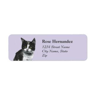 Etiqueta Dibujo blanco y negro del gatito