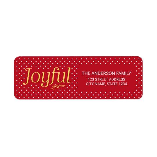 Etiqueta Dirección alegre del día de fiesta del oro rojo y