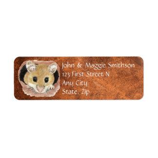 Etiqueta Dirección animal del ratón lindo de la acuarela