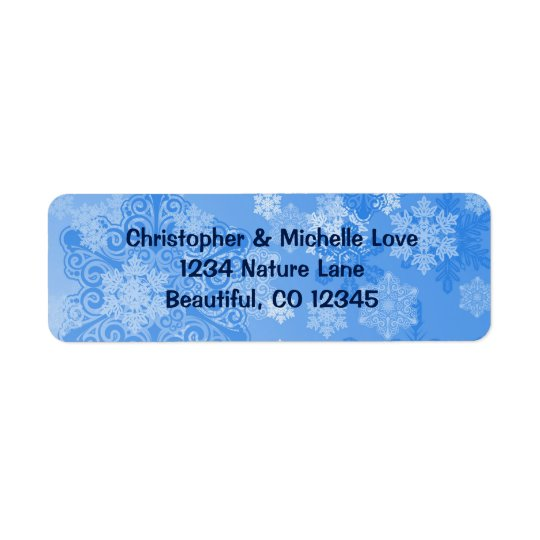 Etiqueta Dirección azul y blanca bonita del invierno de los