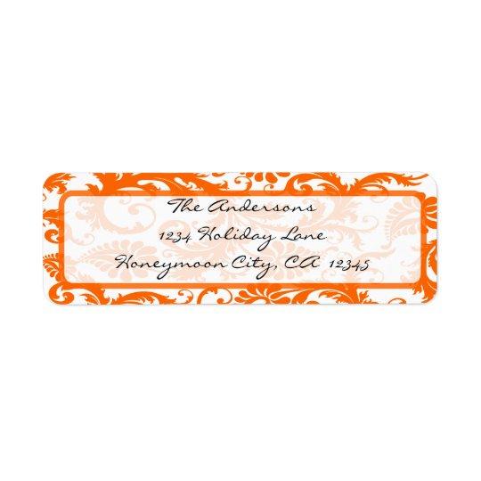 Etiqueta Dirección coralina anaranjada de la caligrafía del