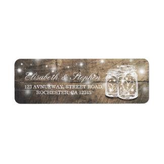 Etiqueta Dirección de madera rústica del boda de la luz de