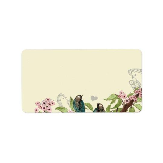 Etiqueta Dirección de rama floreciente del rosa verde