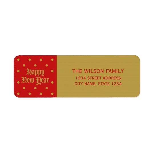 Etiqueta Dirección decorativa clásica roja de la Feliz Año