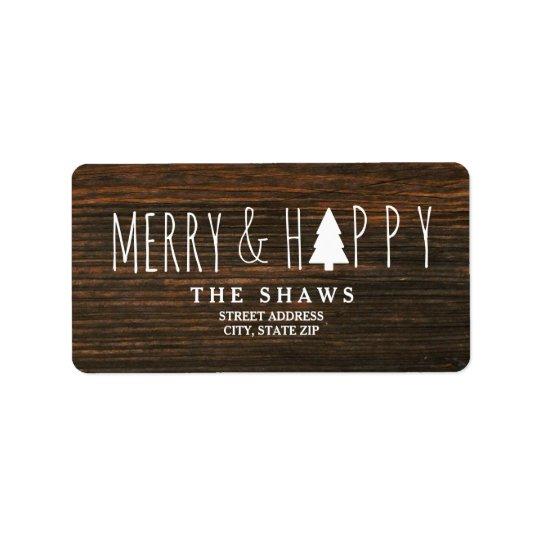Etiqueta Dirección feliz y feliz del árbol de navidad de