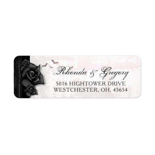 Etiqueta Dirección gótica del boda de Halloween de los