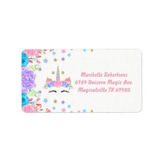 Etiqueta Dirección personalizada unicornio floral de la