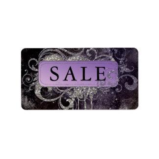 Etiqueta Dirección púrpura de la venta del negro del salón