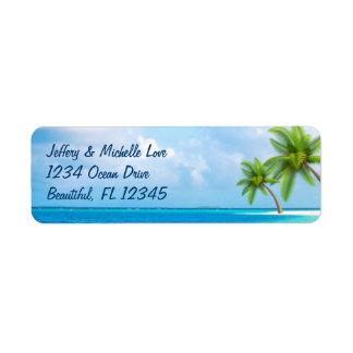 Etiqueta Dirección tropical de la playa de las palmeras