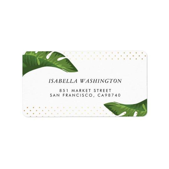Etiqueta Dirección tropical del boda de las hojas de palma