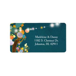 Etiqueta Dirección verde azulada del boda de los árboles