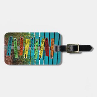 Etiqueta direccional del equipaje de las muestras