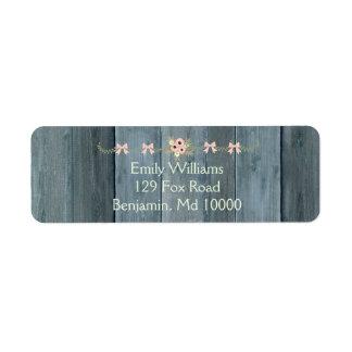 Etiqueta Diseño de madera rústico azul de Lovel