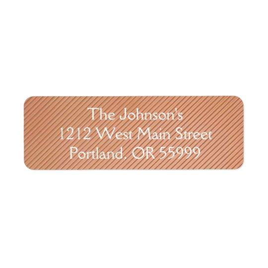 Etiqueta Diseño rayado de cobre