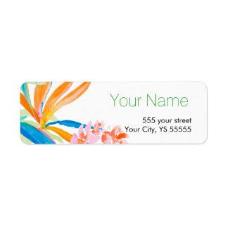 Etiqueta Diseño tropical de la acuarela de la flor de la