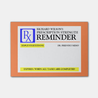 Etiqueta divertida de la prescripción notas post-it®