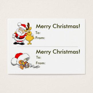 Tarjeta De Visita Etiqueta doble del regalo del navidad