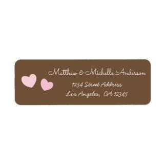 Etiqueta Dos corazones rosados lindos Sr. y señora