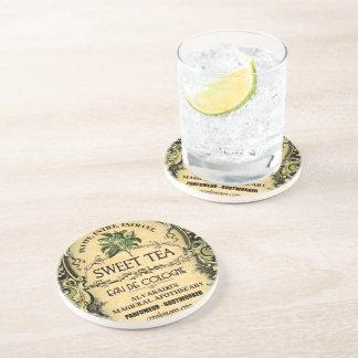 Etiqueta dulce del vintage de agua de colonia del posavasos para bebidas