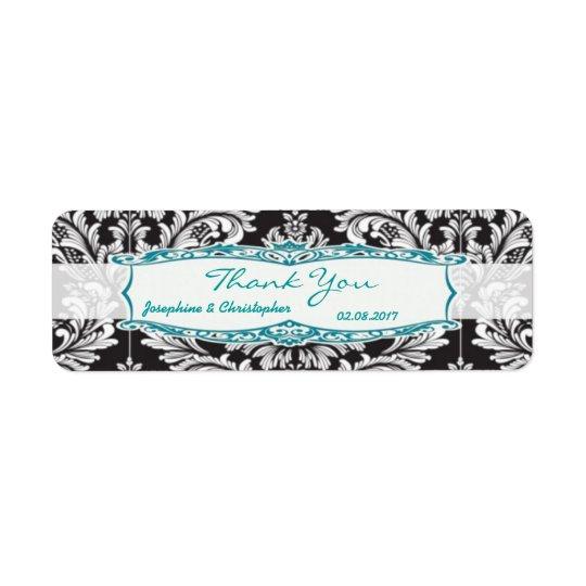 Etiqueta El boda blanco y negro del damasco le agradece