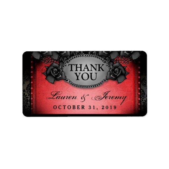 Etiqueta El boda rojo y negro de Halloween le agradece las