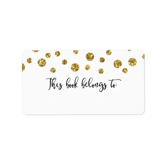 Etiqueta El confeti del brillo del oro este libro pertenece