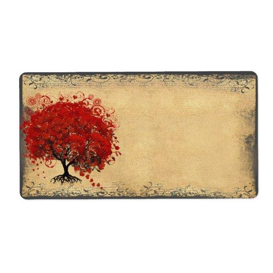 Etiqueta El corazón caprichoso lindo hojeó rojo del árbol