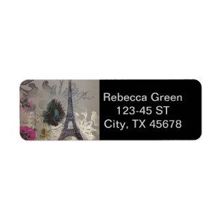 Etiqueta el gris remolina torre Eiffel moderna de París del